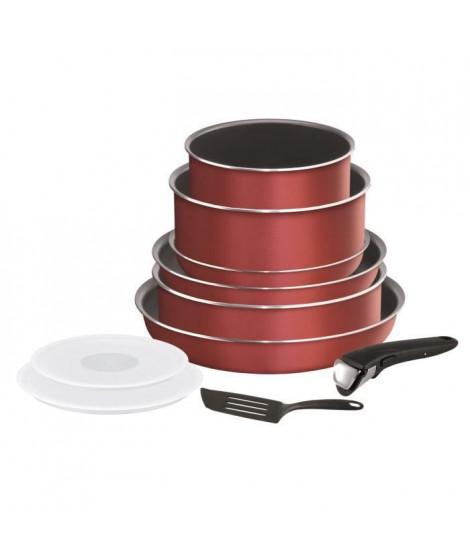 TEFAL L2369002 Batterie de cuisine 10 pieces INGENIO ESSENTIAL - Tous feux sauf induction - Made in France - Rouge