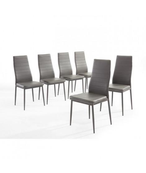 SAM Lot de 6 chaises de salle a manger en simili gris - Style contemporain - L 50 x P 44 cm