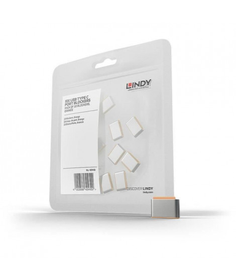LINDY Bloqueurs de port USB Type C, orange, 10 pieces