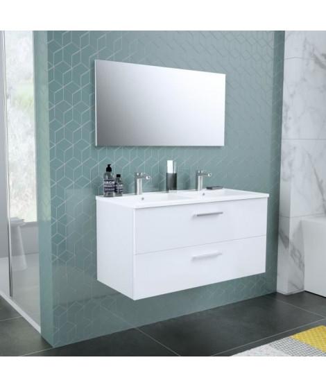 START Meuble salle de bain double vasque + miroir L 100 cm - 2 tiroirs a fermeture ralenties - Blanc