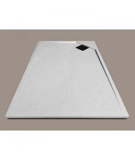 MITOLA Receveur de douche rectangulaire a poser Oasis - 100 x 80 cm - Résine composite - Blanc