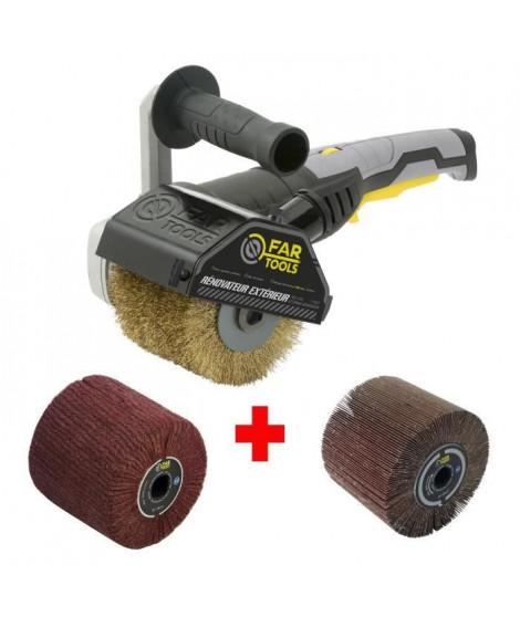 FARTOOLS Pack 615125 : Rénovateur REX120C + brosse a lamelles et brosse fibre synthétique - Spécial bois&métal - Surfaces planes