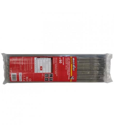 MECAFER Lot de 60 électrodes acier - Ø 3.2 mm L 300 mm