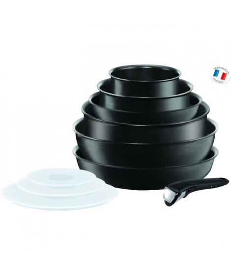 TEFAL INGENIO PERFORMANCE Batterie de cuisine 10 pieces L6549302 16-20-22-24-26cm Tous feux dont induction - Noir