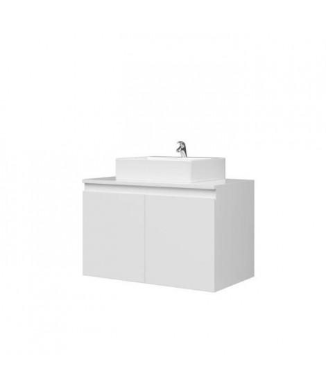 Meuble vasque de Salle de bain 2 portes - Blanc Laqué - L 80 x P 46 x H 50 cm - CINA
