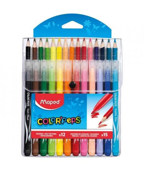 MAPED - Etui de 15 Crayons de couleurs + 12 Feutres Color'peps - Assortis