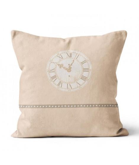 SOLEIL D' OCRE Coussin Esprit de Famille 100% coton - Déhoussable - 40 x 40 cm - Horloge - Naturel