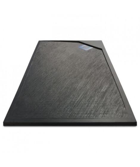 MITOLA Receveur de douche rectangulaire a poser Oasis - 100 x 80 cm - Résine composite - Gris anthracite