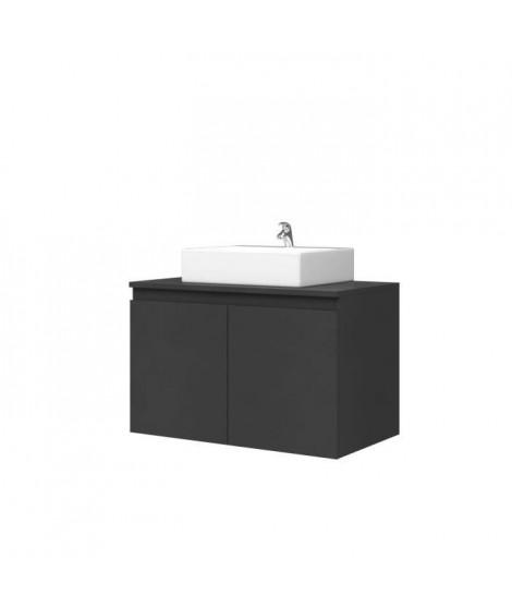 Meuble Vasque de Salle de bain 2 portes - Gris Mat Laqué - L 80 x P 46 x H 50 cm - CINA