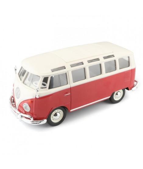 MAISTO Véhicule Volkswagen T1 Combi Samba M31956 - En métal - a l'échelle 1 / 25 eme - Rouge et blanc