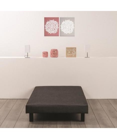 Sommier tapissier a lattes 90 x 190 - Bois massif gris anthracite + pieds bois verni clair - FINLANDEK Rakenne