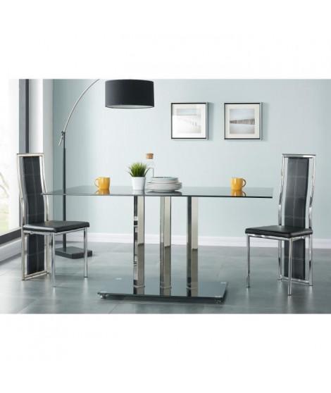 TRIBECA Table a manger de 6 a 8 personnes style contemporain en métal effet chromé et en verre trempé noir - L 160 x l 90 cm