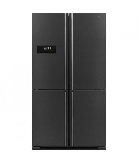 SHARP SJ-F1560E0A - Réfrigérateur 4 Portes - 560 L (390 + 170 L) - Froid ventilé no frost - L 91 x H 185 cm - Inox noir