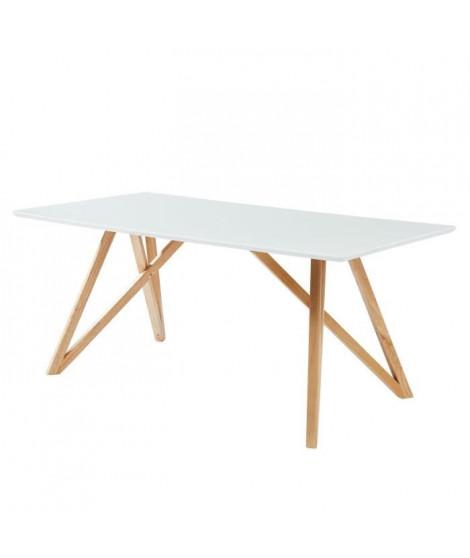 LULEA Table a manger de 8 a 10 personnes scandinave blanc laqué brillant - L 180 x l 90 cm