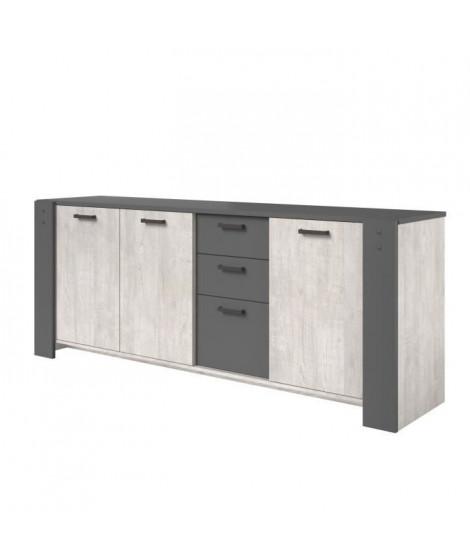 LOFT Enfilade 3 portes et 3 tiroirs - Décor gris - L 220 x P 52 x H 86,5 cm
