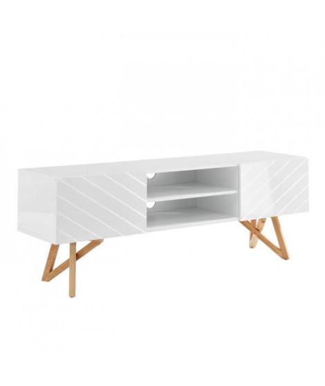 LULEA Meuble TV scandinave blanc laqué brillant - L 160 cm