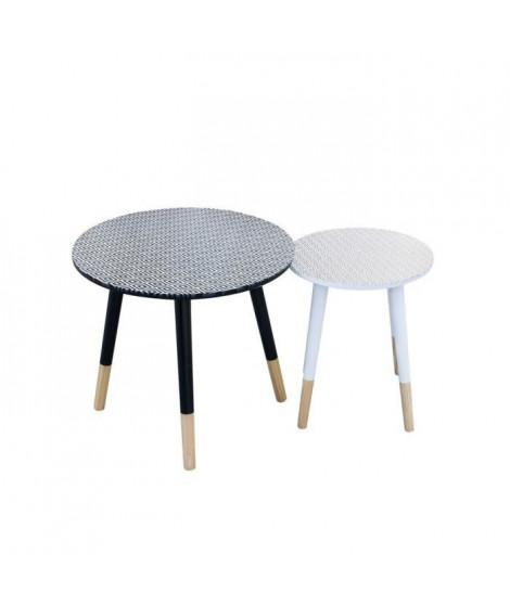 Tables Gigognes en bois - Blanc et bleu - L 43 x P 43 x H 48 cm