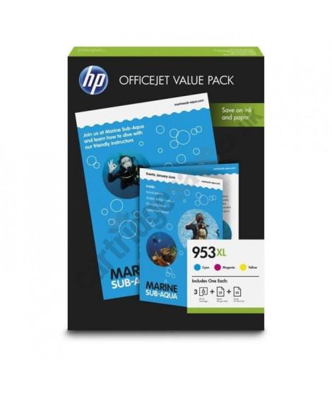 Pack économique HP 953XL Office - 75 feuilles/A4/210 x 297 mm pour HP OfficeJet Pro 8710/8715/8720 (1CC21AE)