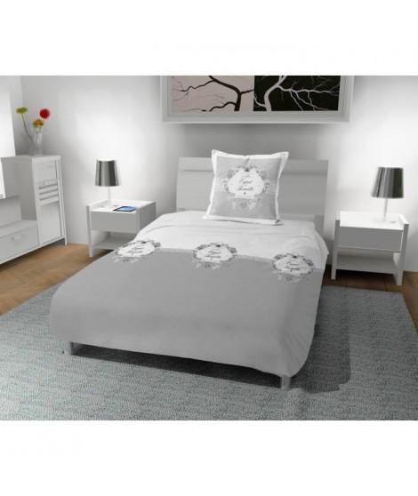 SOLEIL D' OCRE Parure de couette Esprit de Famille 100% coton - 1 housse de couette 140 x200 cm + 1 taie d'oreiller - Gris