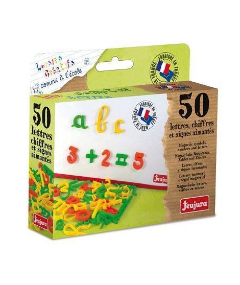 JEUJURA Coffret 50 Lettres magnétiques Cursives, Chiffres Et Signes pour tableau