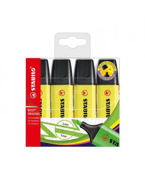 Pochette x 4 surligneurs STABILO BOSS ORIGINAL - jaune