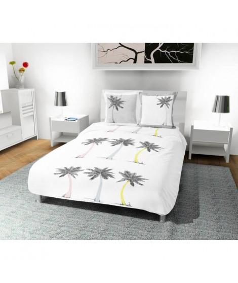 SOLEIL D' OCRE Parure de couette Palmier 100% coton - 1 housse de couette 220 x 240 cm + 2 taies d'oreiller - Blanc