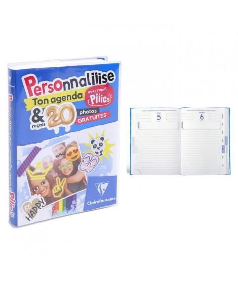 CLAIREFONTAINE Agenda scolaire 400 pages - 1 jour par page - 120 x 170 mm - Papier PEFC - Couverture PVC amovible Perso Piiics