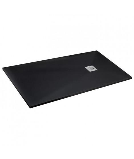 MITOLA Receveur de douche rectangulaire a poser Liwa - 120 x 90 cm - Résine composite - Noir
