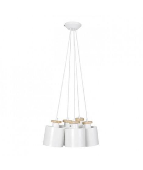 UZIBUZE Lustre 5 tetes en bois et acier - Ø45 x H90 cm - Blanc  - E27 5x40W