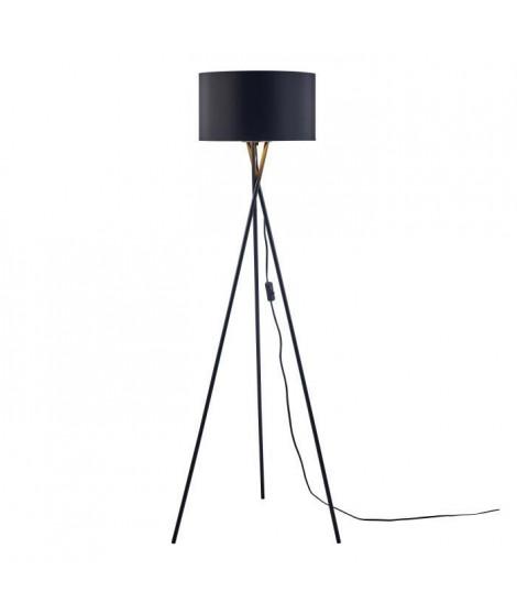 Lampadaire Trépied Métal Noir - Abat jour en tissu Noir et doré - Diam 34 x H 140 cm