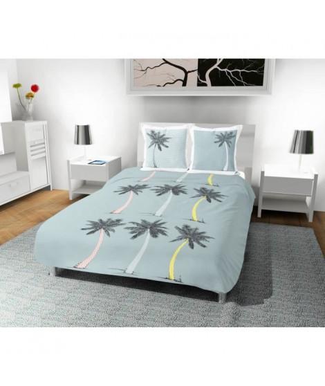 SOLEIL D' OCRE Parure de couette Palmier 100% coton - 1 housse de couette 220 x 240 cm + 2 taies d'oreiller - Bleu