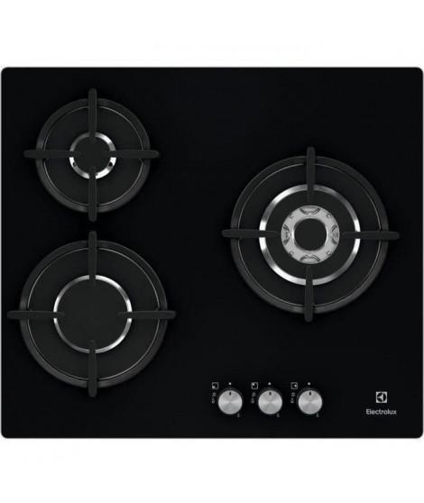ELECTROLUX EGT6633NOK - Plaque de cuisson gaz - 3 foyers - 7900W - L56 x P48 x H4,5cm - Revetement verre - Grilles en fonte -…