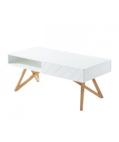 Table basse LULEA 1 tiroir - Décor blanc brillant - L 115 cm