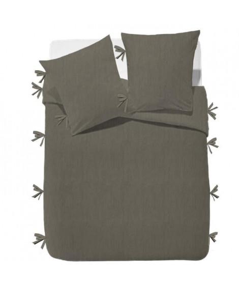FINLANDEK Parure de couette Rachelle - 100% coton lavé - 220 x 240 cm - Taupe