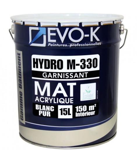 EVO-K Peinture professionnelle monocouche murs et plafonds Hydro M330 15 L blanc mat blanc lessivable