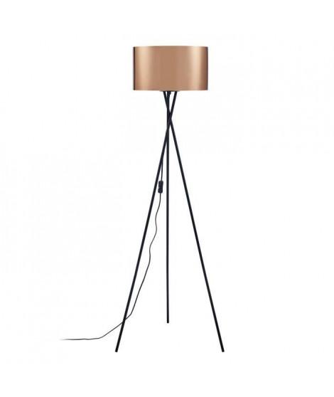 Lampadaire Trépied Métal Noir - Abat jour Cuivre et Chromé - Diam 34 x H 140 cm