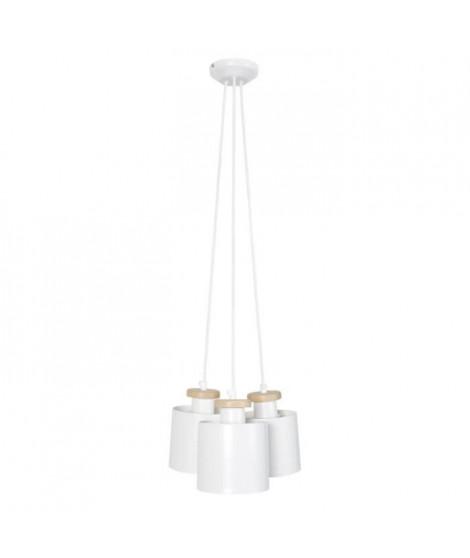 UZIBUZE Lustre 3 tetes en bois et acier - Ø30 x H90 cm - Blanc  - E27 3x40W