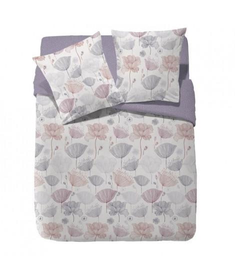 FINLANDEK Parure de couette réversible Sasuli - 100% coton - 240 x 260 cm - Violet lilas et beige