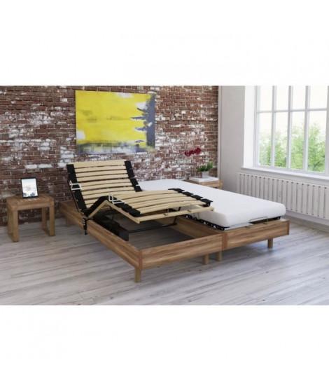 Ensemble relaxation matelas + sommiers électriques décor chene clair 2x70x190 - Mousse - 14 cm - Ferme - TALCA