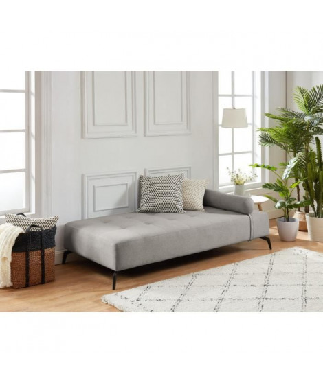 SHADOW Méridienne DAYBED 3 places - Tissu gris clair - Style contemporain - L190 x P 90 cm