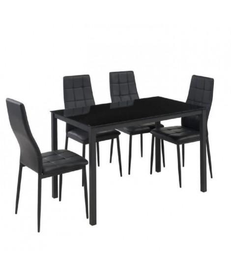 SELVA Ensemble table a manger de 4 a 6 personnes + 4 chaises style contemporain en métal laqué noir - L 120 x l 70 cm
