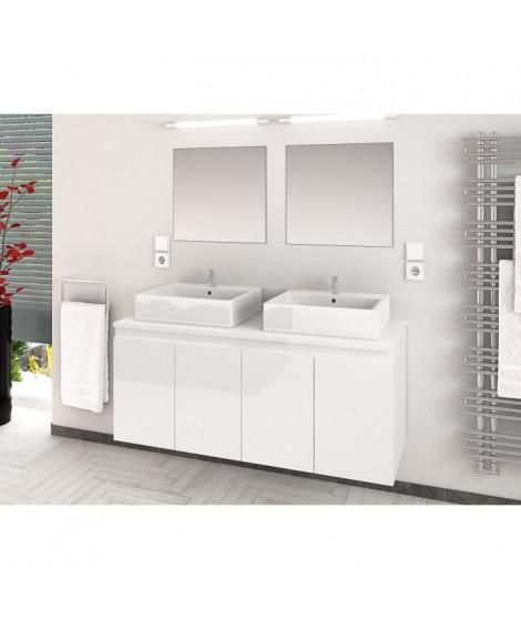 CINA Ensemble salle de bain double vasque L 120 cm - Blanc laqué