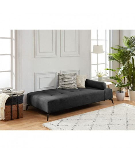 SHADOW Méridienne DAYBED 3 places - Tissu gris anthracite - Style contemporain - L190 x P 90 cm