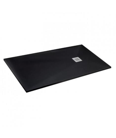 MITOLA Receveur de douche rectangulaire a poser Liwa - 160 x 90 cm - Résine composite - Noir