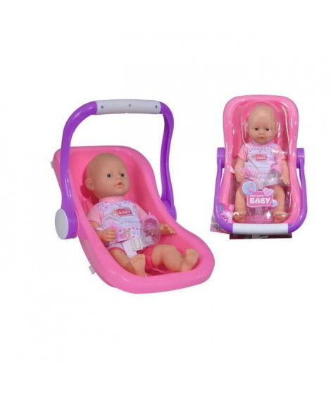 SIMBA New Born Baby Poupon Fonction Pipi + Siege Auto