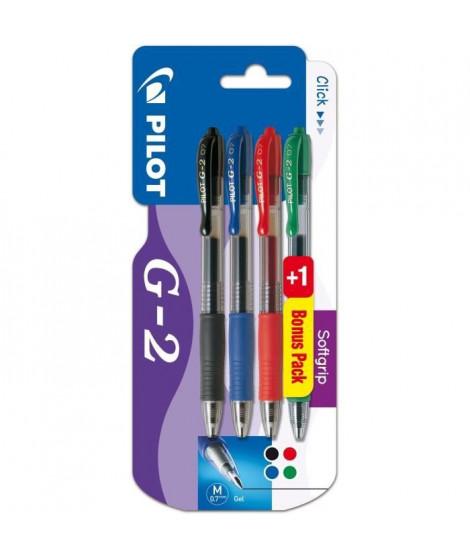 PILOT - Roller Encre Gel - Retractable - G-2 X3+1 - Pointe Moyenne - Encre noire / bleue / rouge + vert