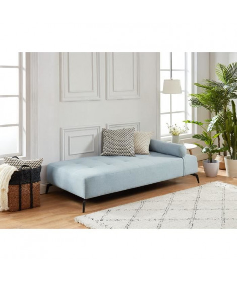 SHADOW Méridienne DAYBED 3 places - Tissu gris bleu - Style contemporain - L190 x P 90 cm