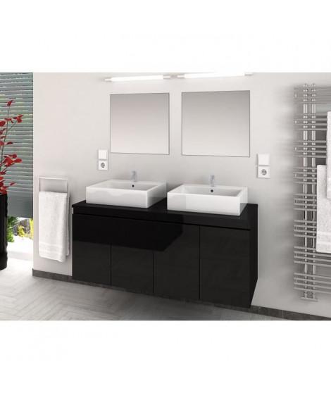 CINA Ensemble salle de bain double vasque L 120 cm - Noir laqué