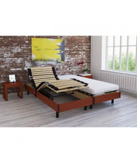 Ensemble relaxation matelas + sommiers électriques décor cerisier 2x80x200 - Mousse - 14 cm - Ferme - TALCA