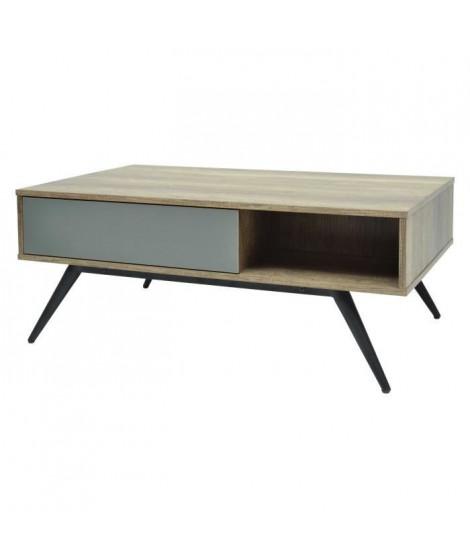 BAOFARA Table basse avec pietement en métal Laqué noir - décor chene et gris - L 100 x P 60 x H 40 cm